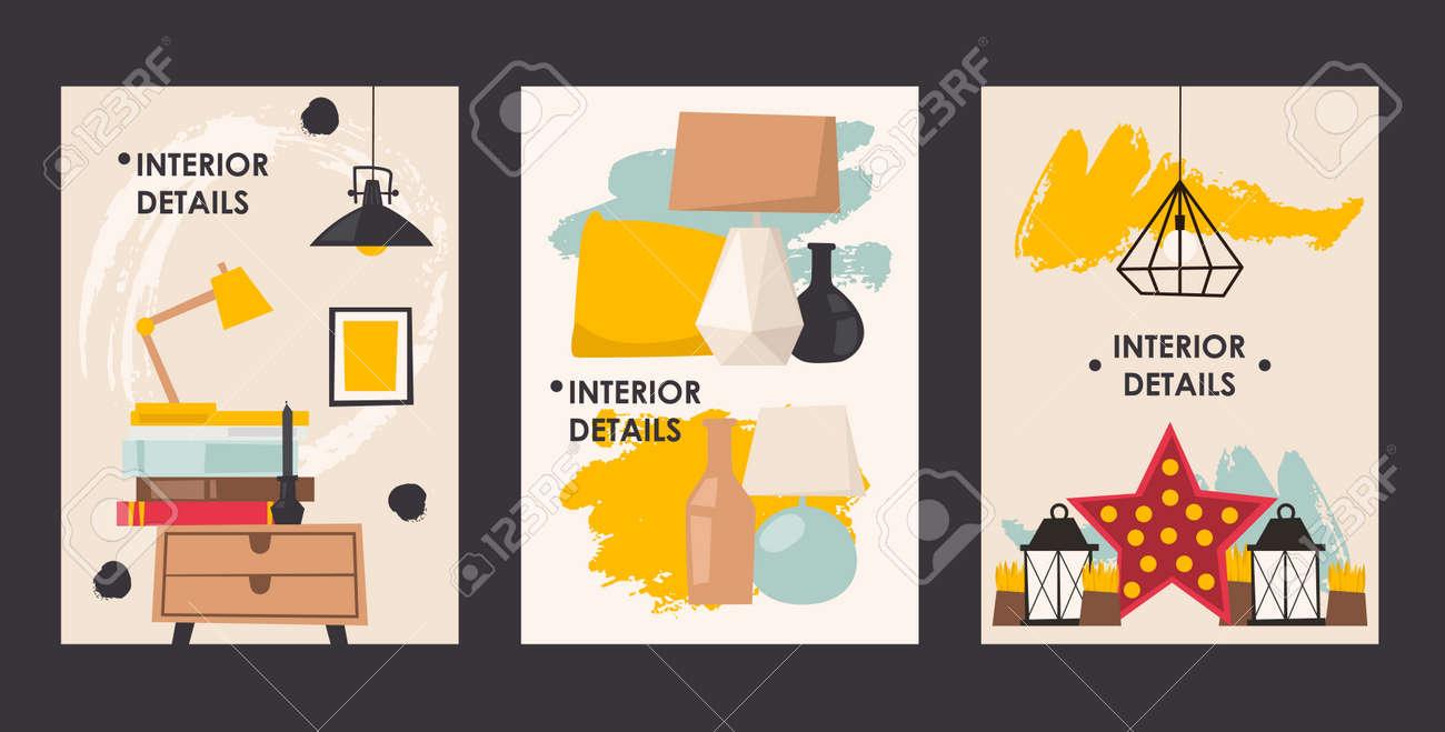 interior design details set of banners vector illustration