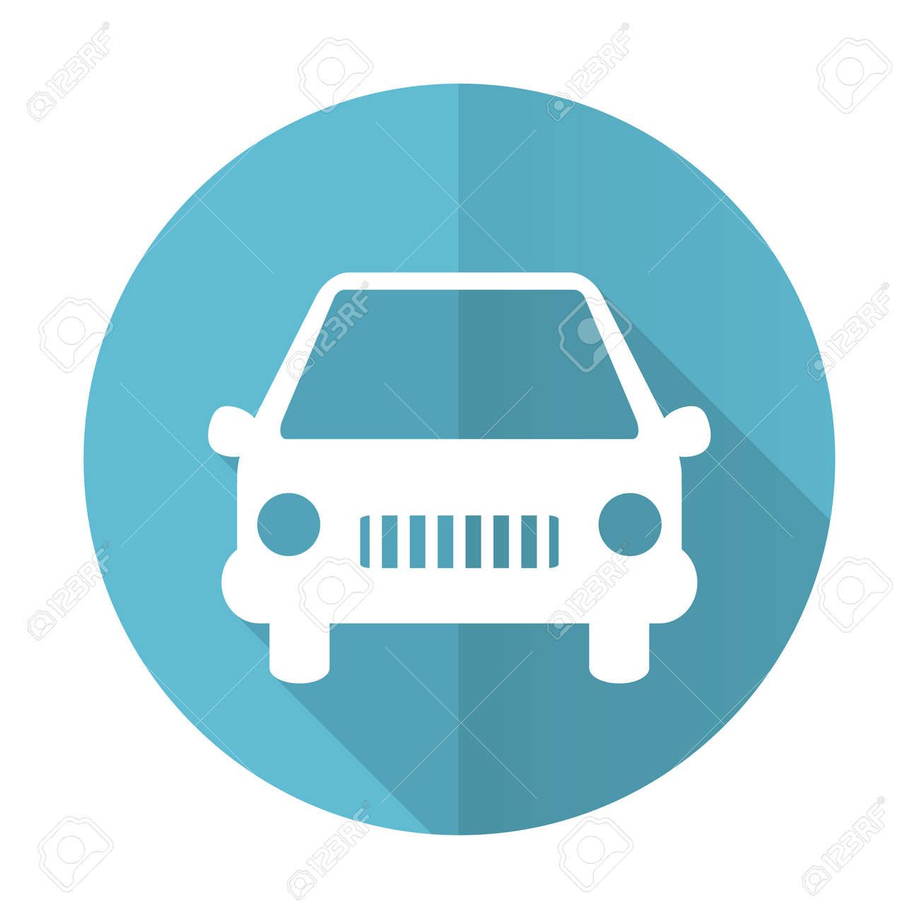 car blue flat icon