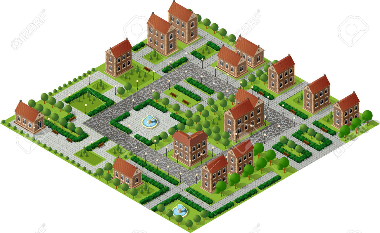 architecture retro isometric 3d city historic educational buildings