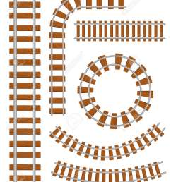 set of vector railroad and railway tracks construction elements straight and curved railroad track  [ 1083 x 1300 Pixel ]