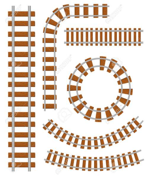 small resolution of set of vector railroad and railway tracks construction elements straight and curved railroad track