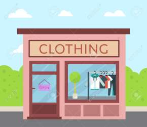 Facade Clothing Store With Sign Board And Clothes In Shop Window Royalty Free Cliparts Vectors And Stock Illustration Image 74227127