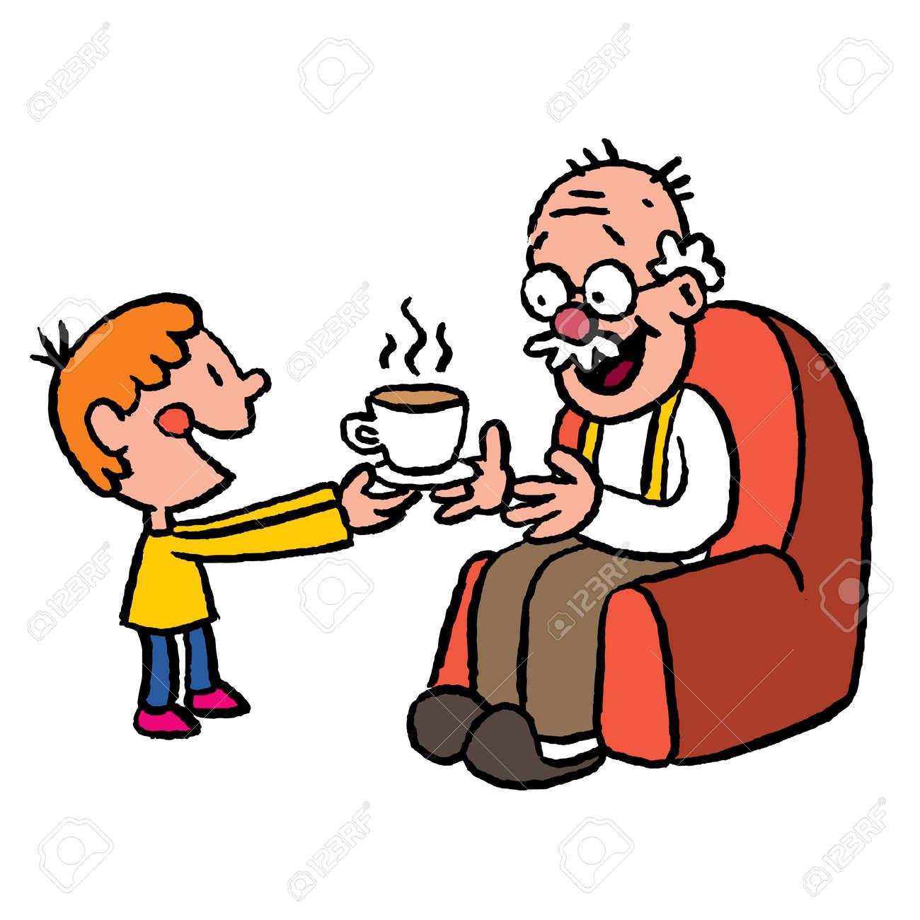grandson bringing tea to