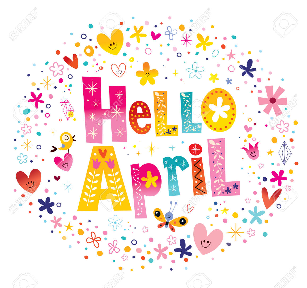 hight resolution of hello april unique lettering with flowers and hearts spring design stock vector 54725077