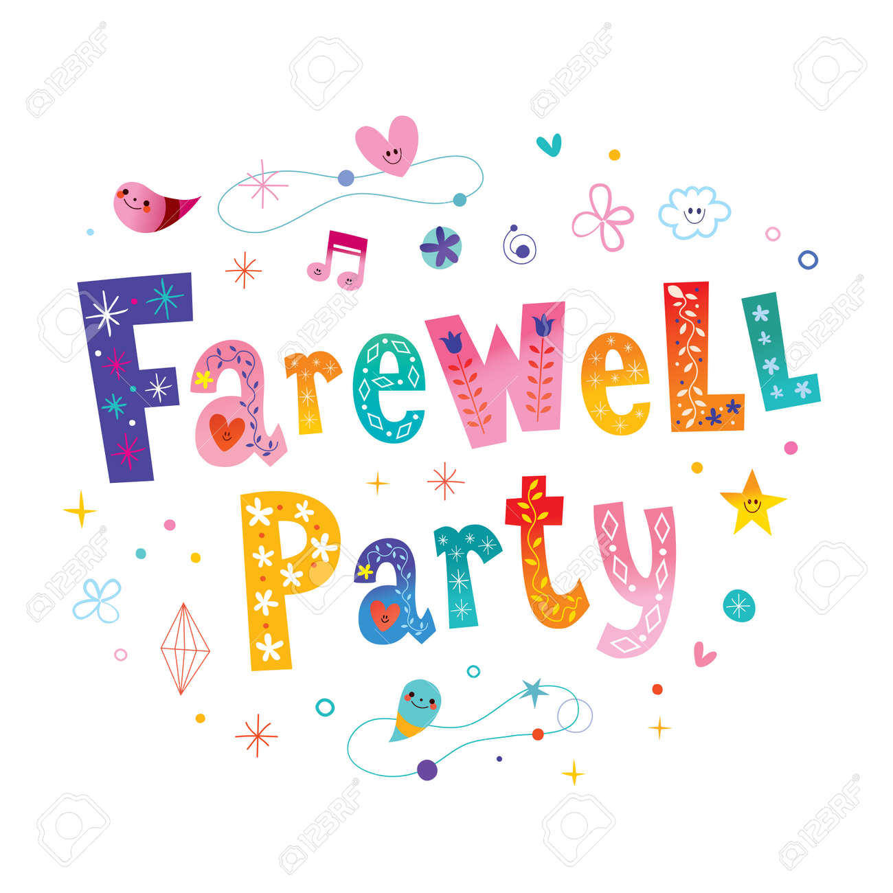 hight resolution of farewell party decorative lettering stock vector 96432490