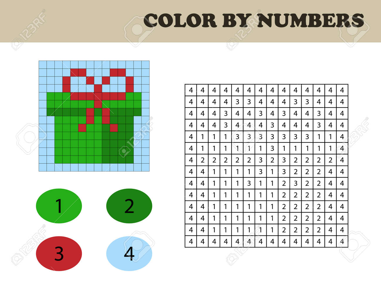 Color By Numbers Education Game For Children Coloring Book Royalty Free Cliparts Vectors And Stock Illustration Image 106968225