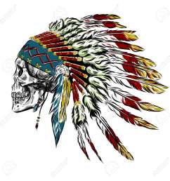 hand drawn native american indian feather headdress with human skull vector illustration eps stock vector [ 1300 x 1300 Pixel ]