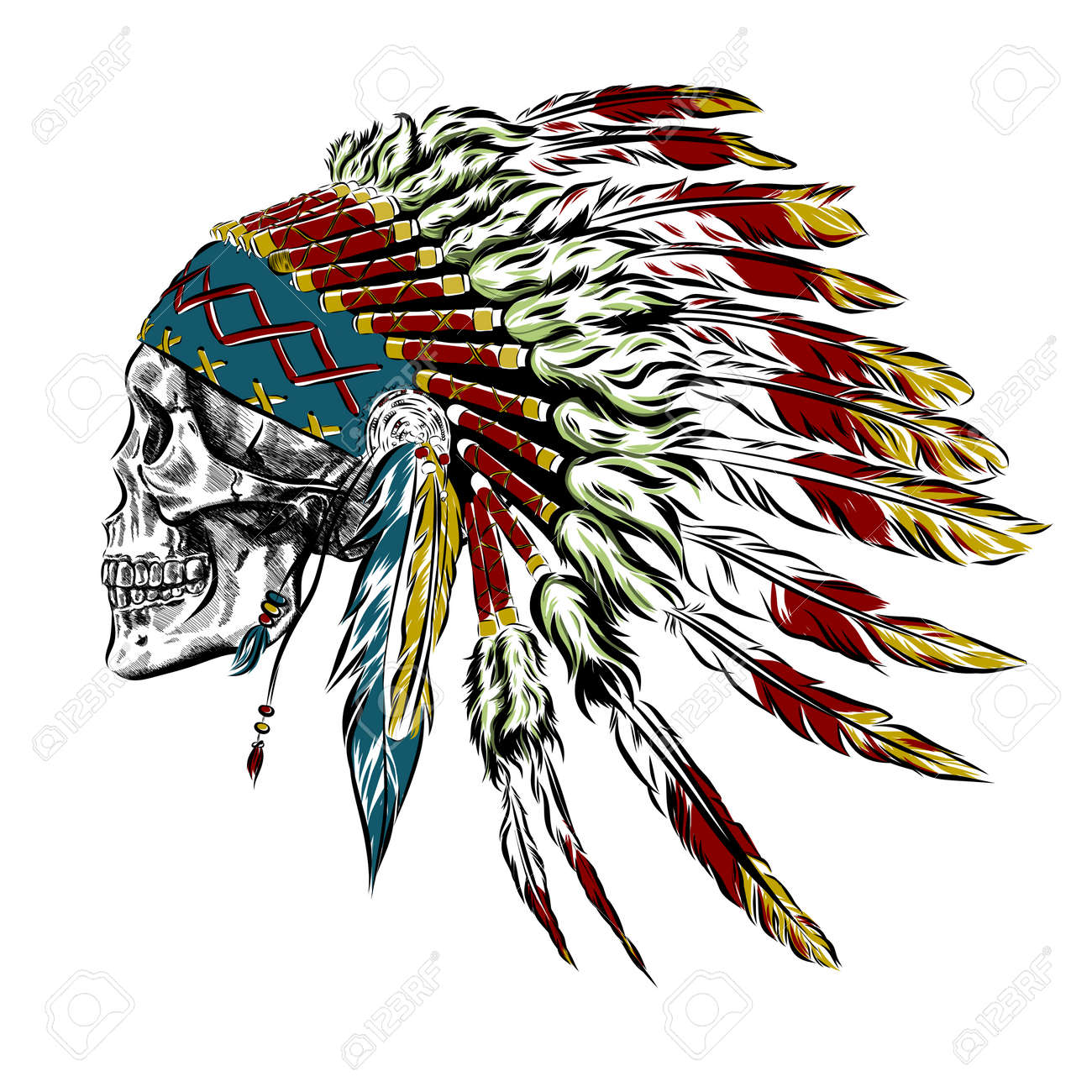 hight resolution of hand drawn native american indian feather headdress with human skull vector illustration eps stock vector
