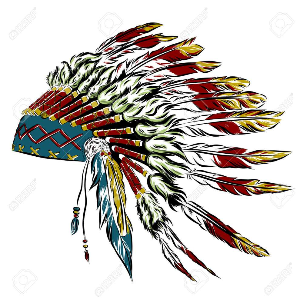 medium resolution of native american indian headdress with feathers in a sketch style multicolored card for thanksgiving day