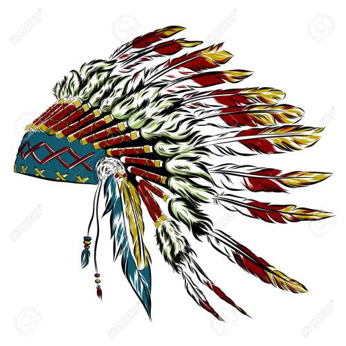 small resolution of native american indian headdress with feathers in a sketch style multicolored card for thanksgiving day