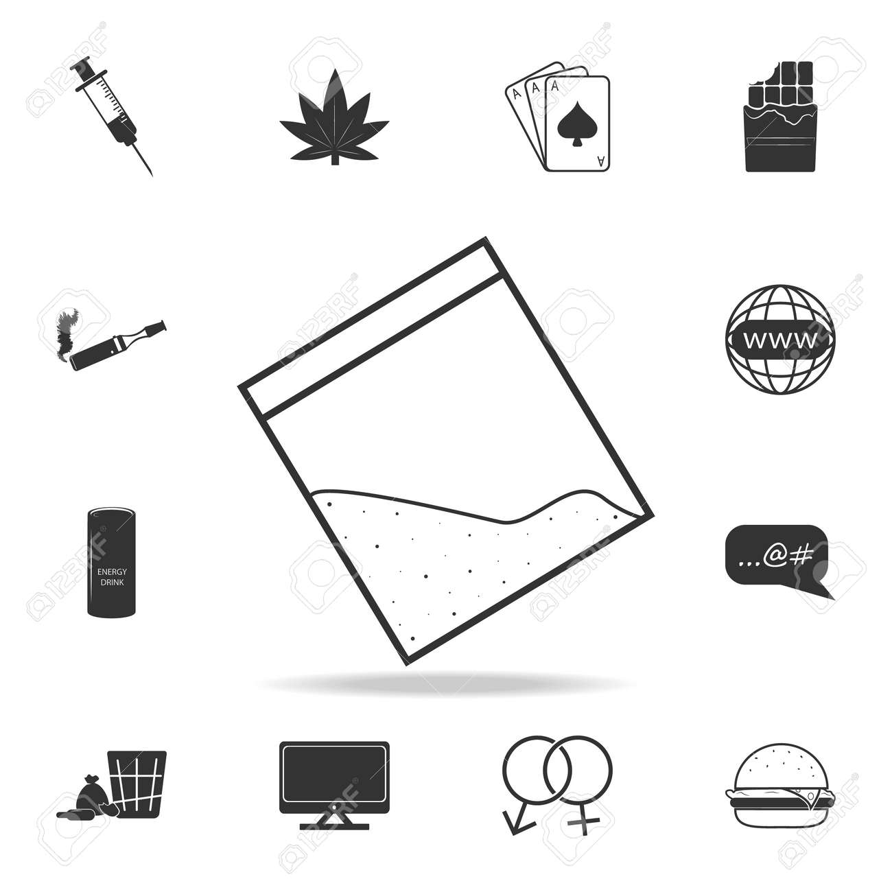 hight resolution of drug cocain in plastic bag with zipper iconset of human weakness and addiction element icon
