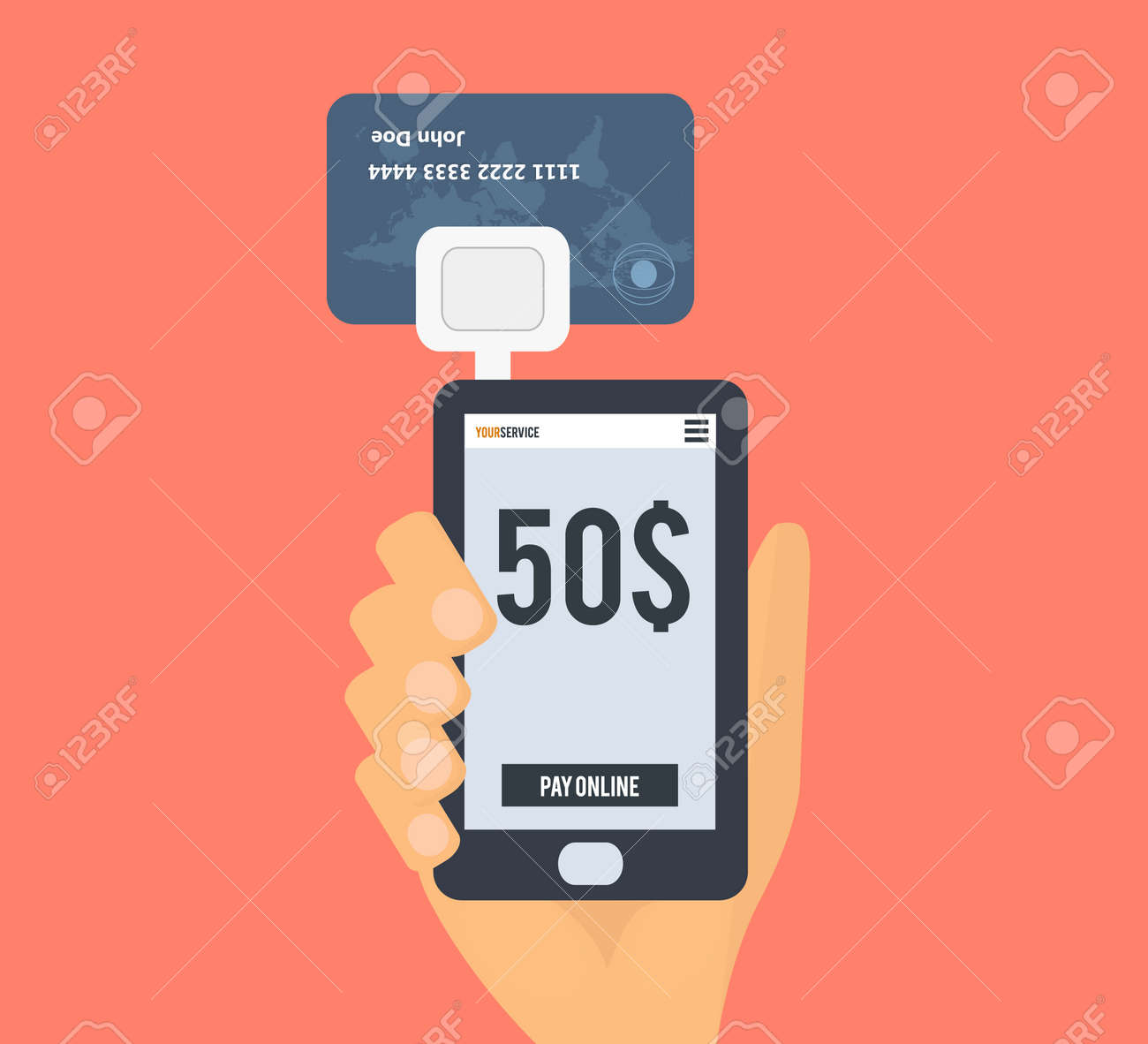 Smartphone Credit Card Reader Hand With Mobile Phone Bank Card Royalty Free Cliparts Vectors And Stock Illustration Image 60215012