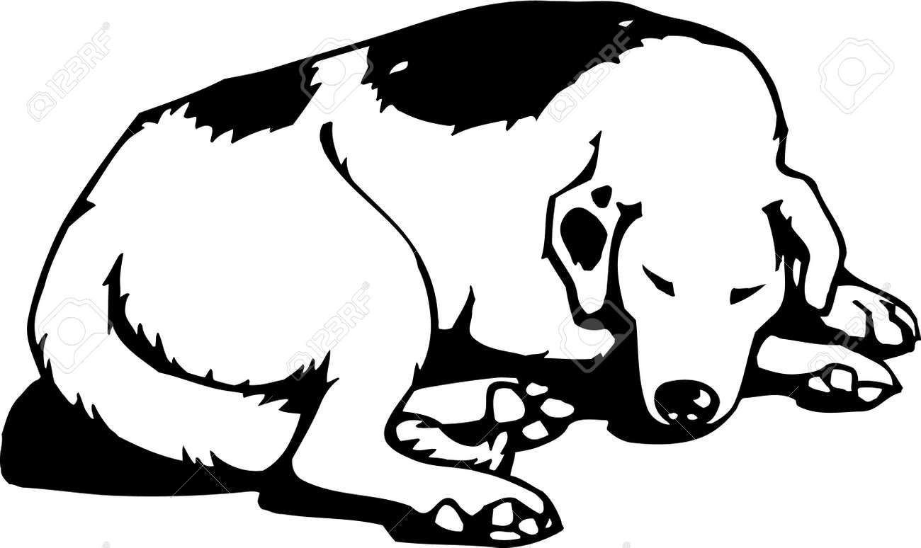 hight resolution of sleeping dog stock vector 12945153