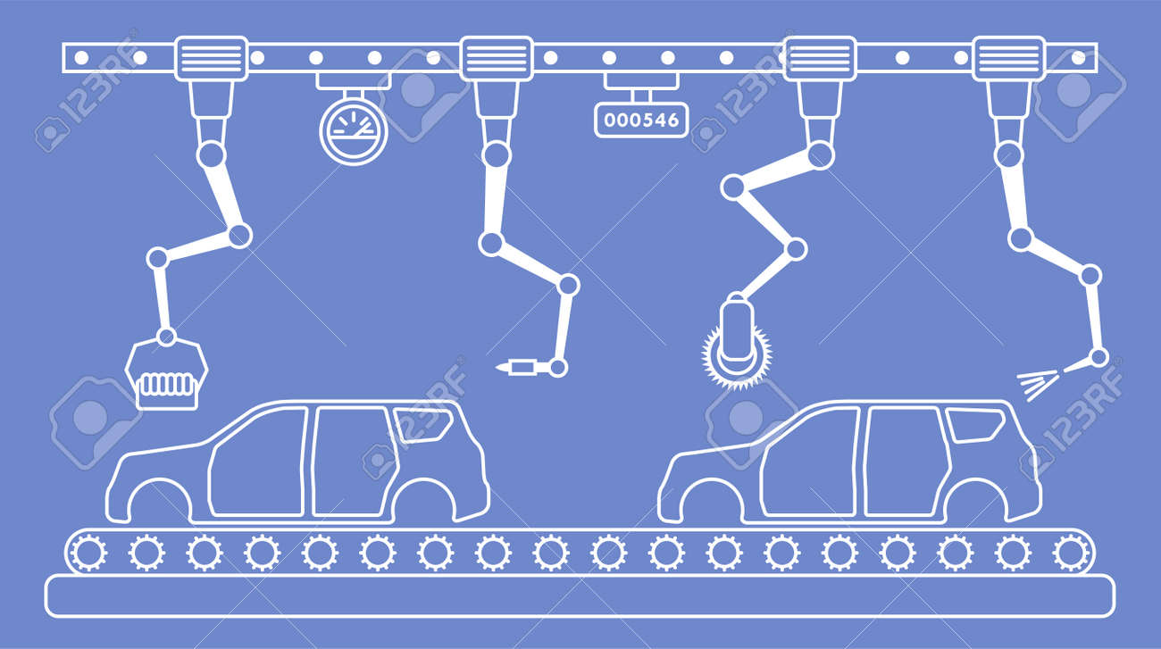 hight resolution of thin line style car assembly line automatic auto production conveyor robotic car industry concept