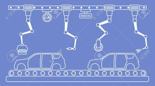 small resolution of thin line style car assembly line automatic auto production conveyor robotic car industry concept