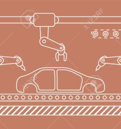 thin line style car assembly line automatic auto production conveyor robotic car industry concept [ 1300 x 726 Pixel ]