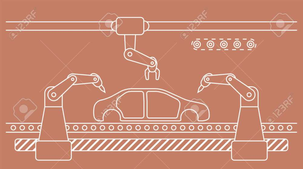 medium resolution of thin line style car assembly line automatic auto production conveyor robotic car industry concept