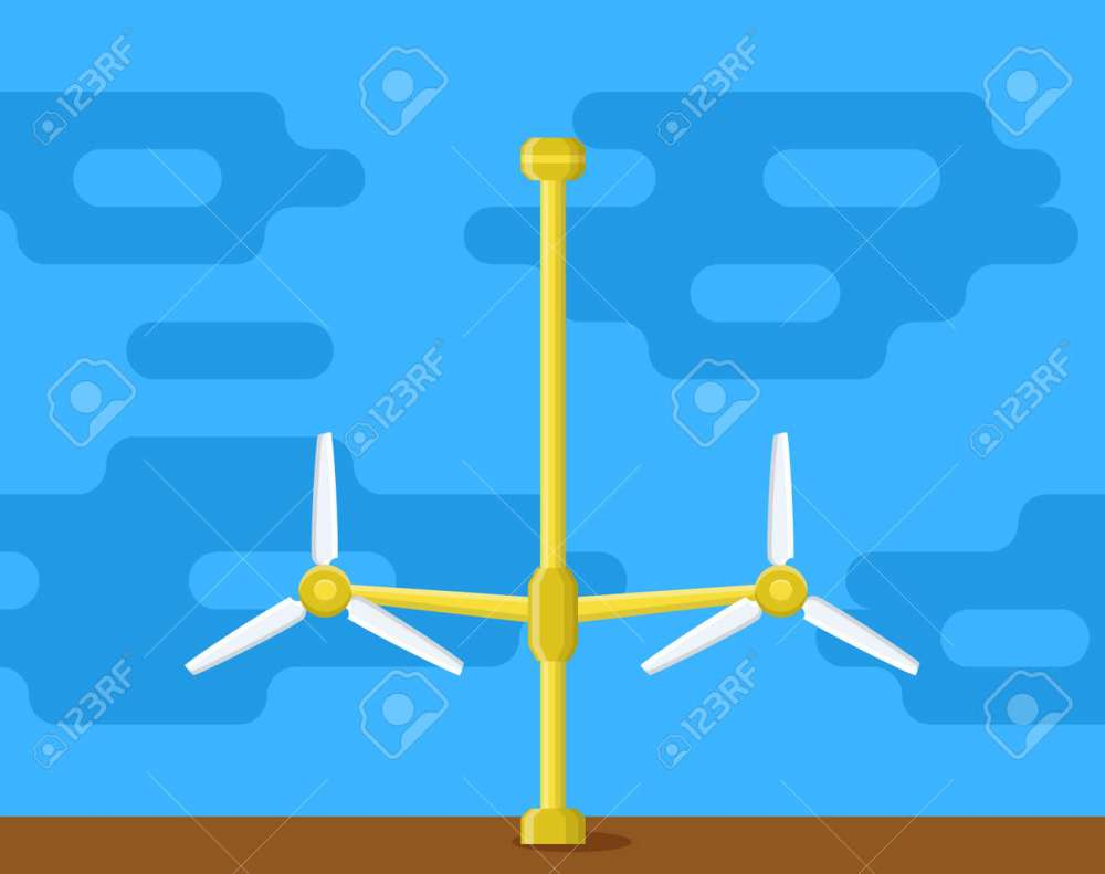 medium resolution of tidal power station flat style cartoon tidal tower station innovation clean power source