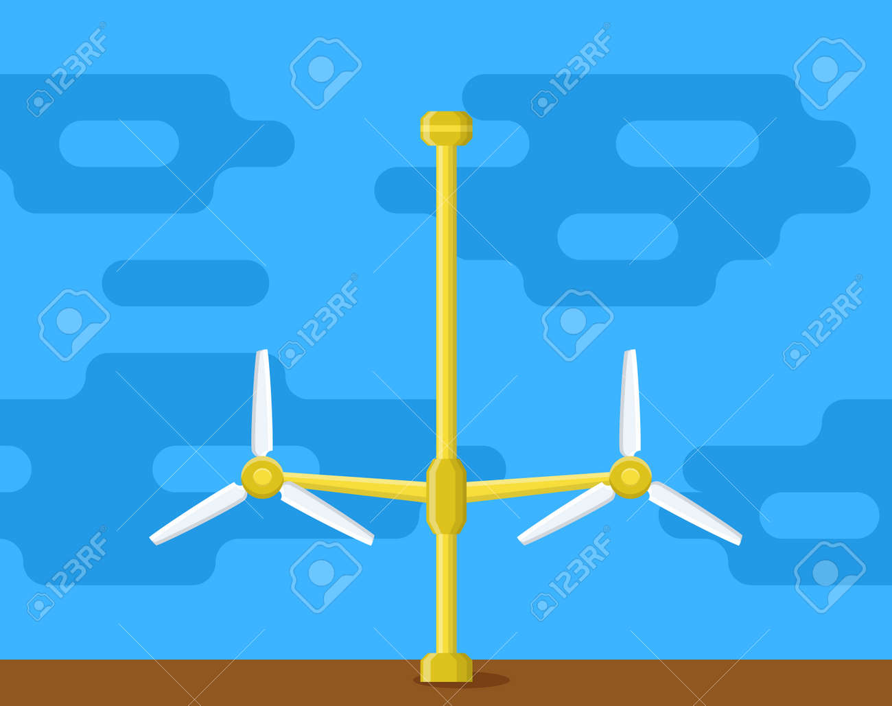 hight resolution of tidal power station flat style cartoon tidal tower station innovation clean power source