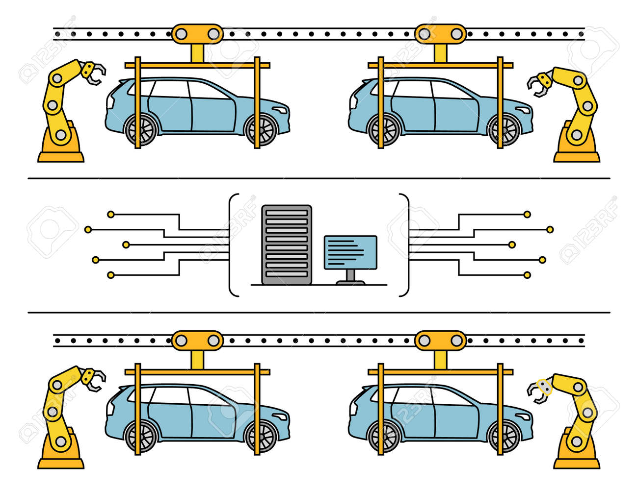 hight resolution of thin line style car assembly line automatic auto production conveyor robotic car machinery industry
