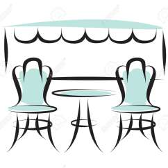 Parisian Cafe Table And Chairs White Side Paris Outdoor Patio Vector Ilustration Royalty Stock 111954884