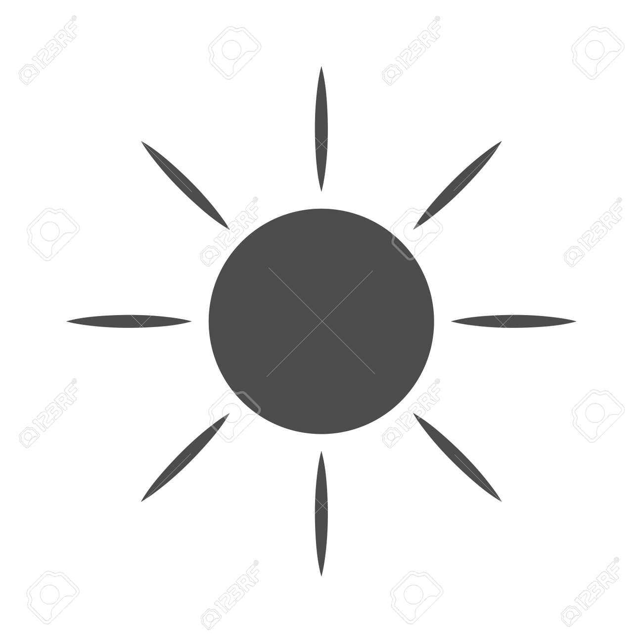 sun icone signe clair avec les rayons du soleil noir element de conception isole sur fond blanc symbole du lever du soleil la chaleur au soleil