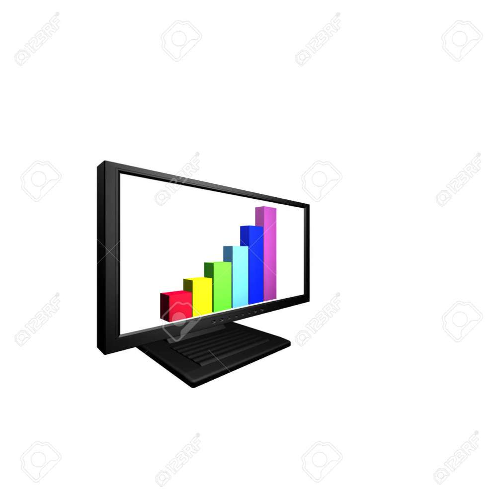 medium resolution of flat lcd monitor with financial business diagram stock photo 4439578