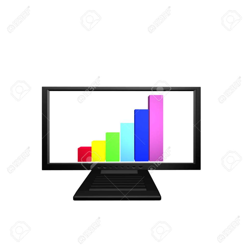 medium resolution of flat lcd monitor with financial business diagram stock photo 4439582