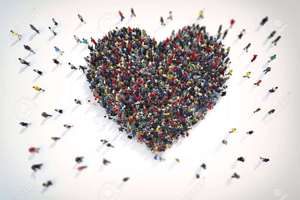 medium resolution of 3d rendering crowd of people that form the heart symbol of love