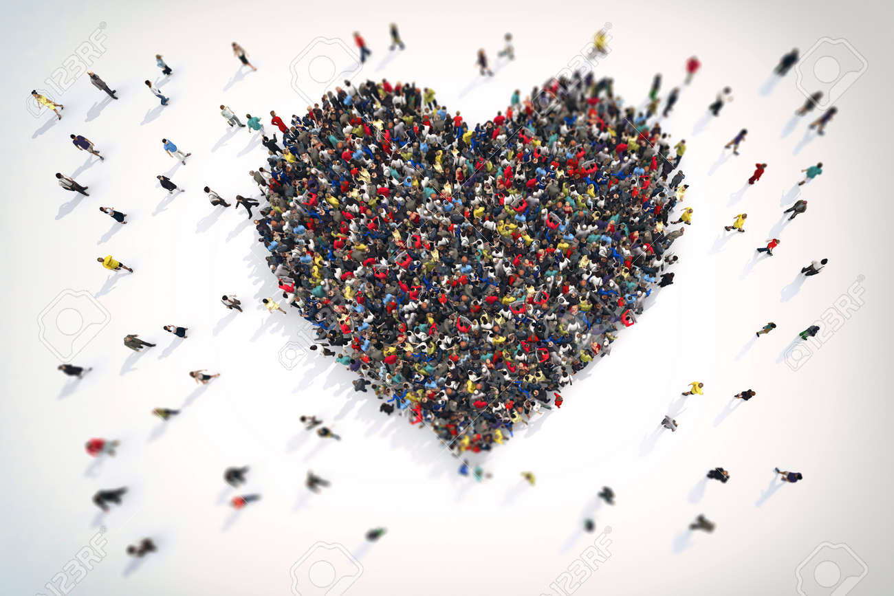 hight resolution of 3d rendering crowd of people that form the heart symbol of love