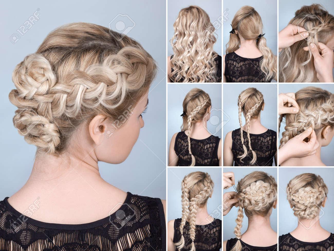 Frisur Zopf Auf Blonde Modell Tutorial Frisur Für Langes Haar