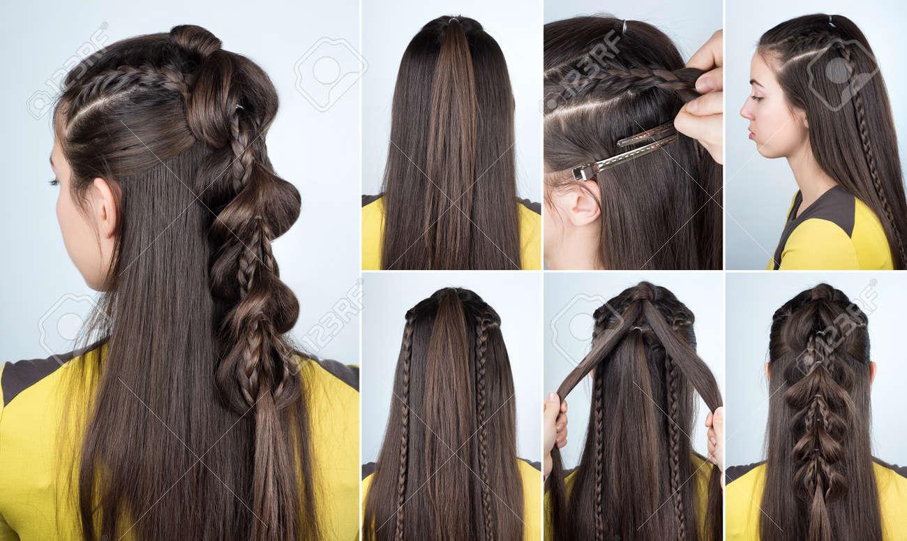 Moderne Frisur Zopf Mit Offenem Haar Frisur Tutorial Für Lange