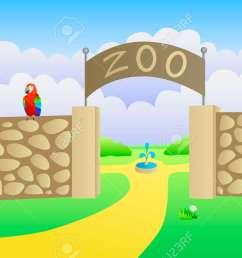 vector zoo entrance summer landscape day illustration vector [ 1300 x 866 Pixel ]