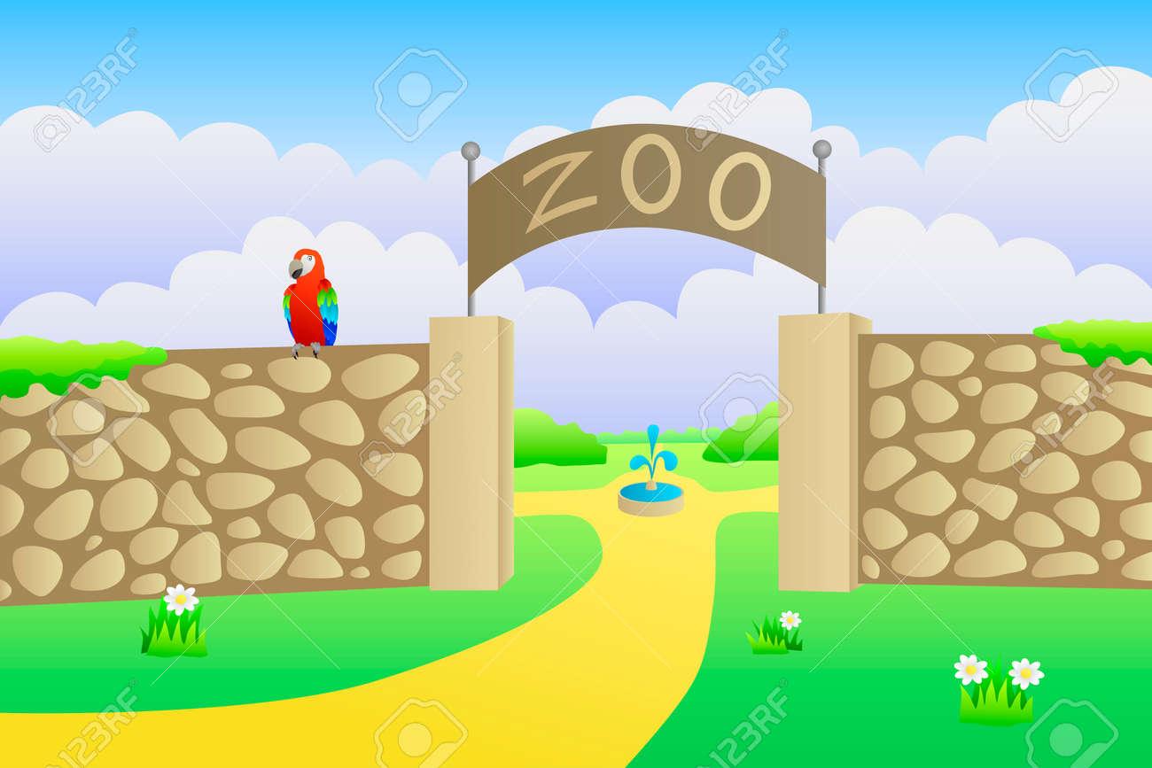 hight resolution of vector zoo entrance summer landscape day illustration vector