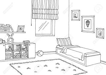 Children Room Graphic Black White Interior Sketch Illustration Royalty Free Cliparts Vectors And Stock Illustration Image 86300727