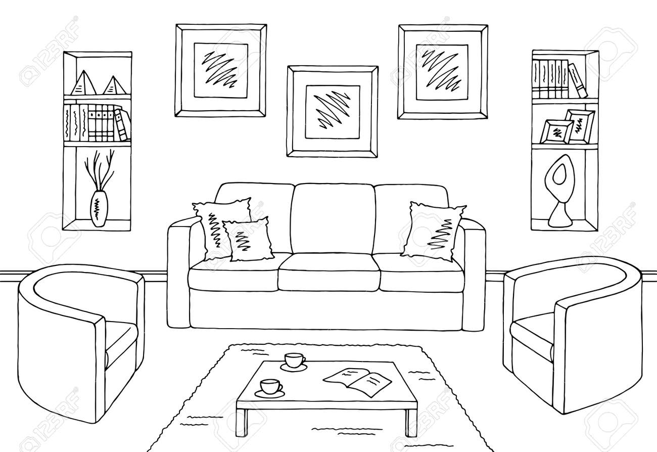 pictures of black and white living rooms wood floors in room graphic interior sketch illustration vector stock 93014171