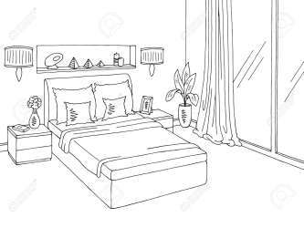 Bedroom Graphic Black White Home Interior Sketch Illustration Royalty Free Cliparts Vectors And Stock Illustration Image 96594803