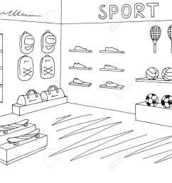 sport shop store graphic interior black white sketch illustration vector stock vector 101830598 [ 1300 x 975 Pixel ]