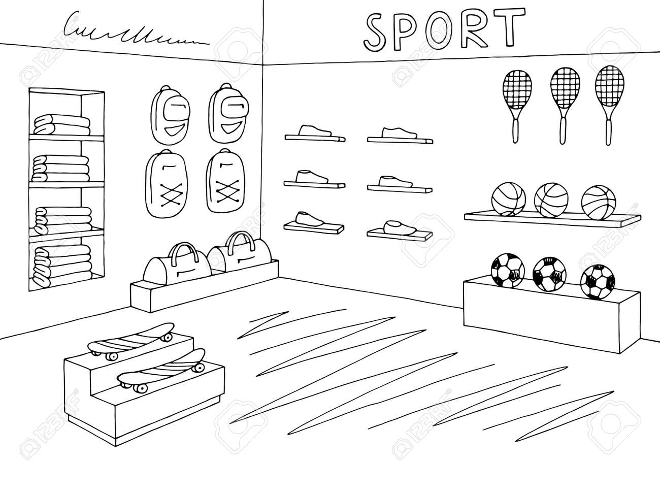 hight resolution of sport shop store graphic interior black white sketch illustration vector stock vector 101830598