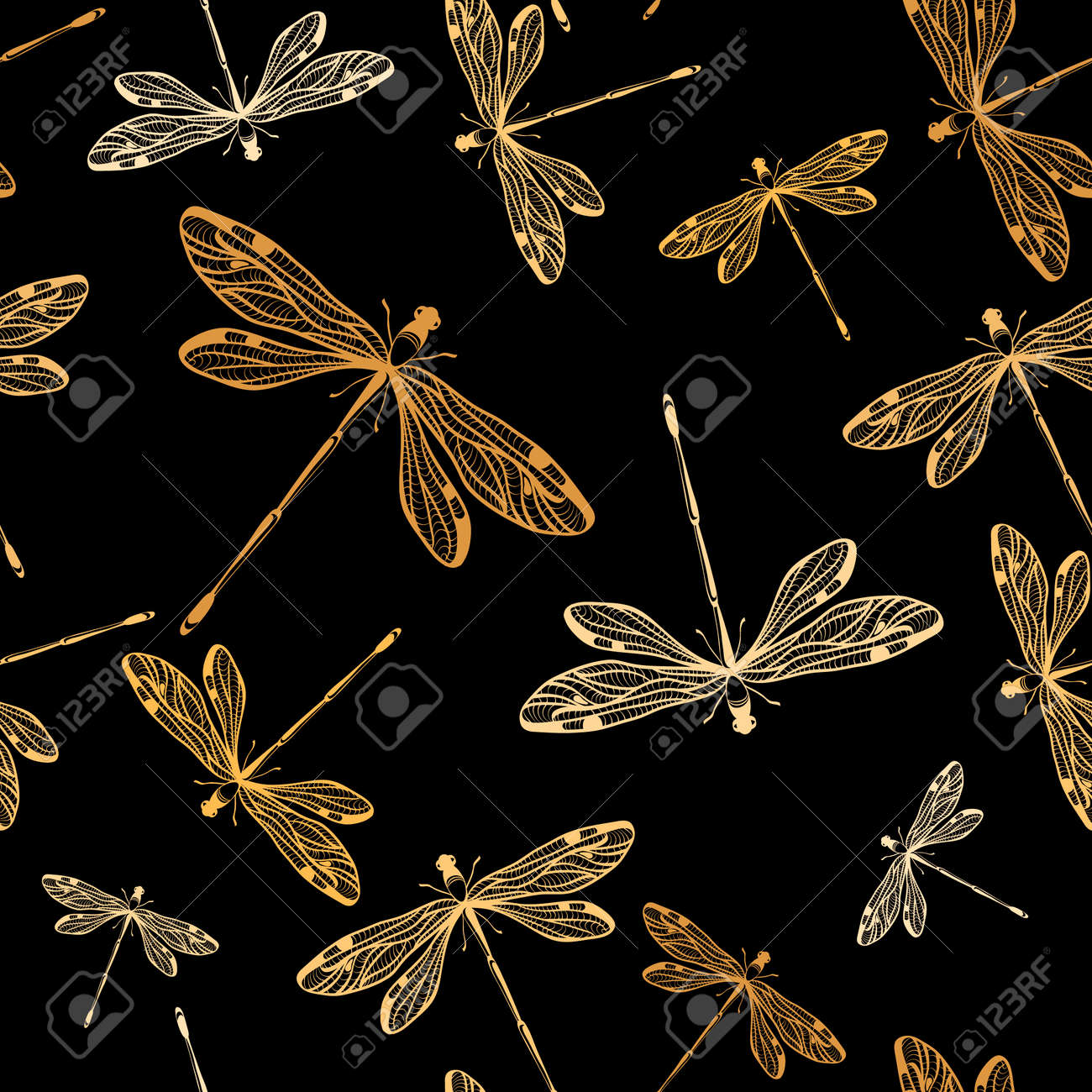 seamless pattern with dragonflies