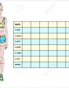 Measurement chart of the body parameters for sport and diet effect tracking blank weight loss also rh rf