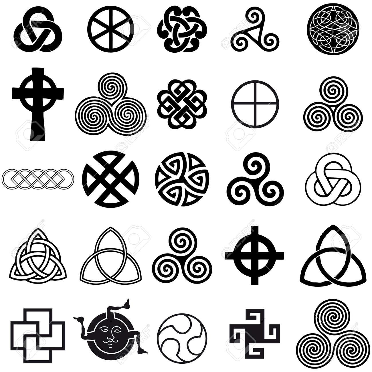 Conjunto De Símbolos Celtas Iconos Vectoriales Conjunto De Diseño