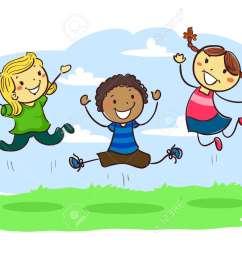 vector vector illustration of stick kids jumping together [ 1300 x 1002 Pixel ]