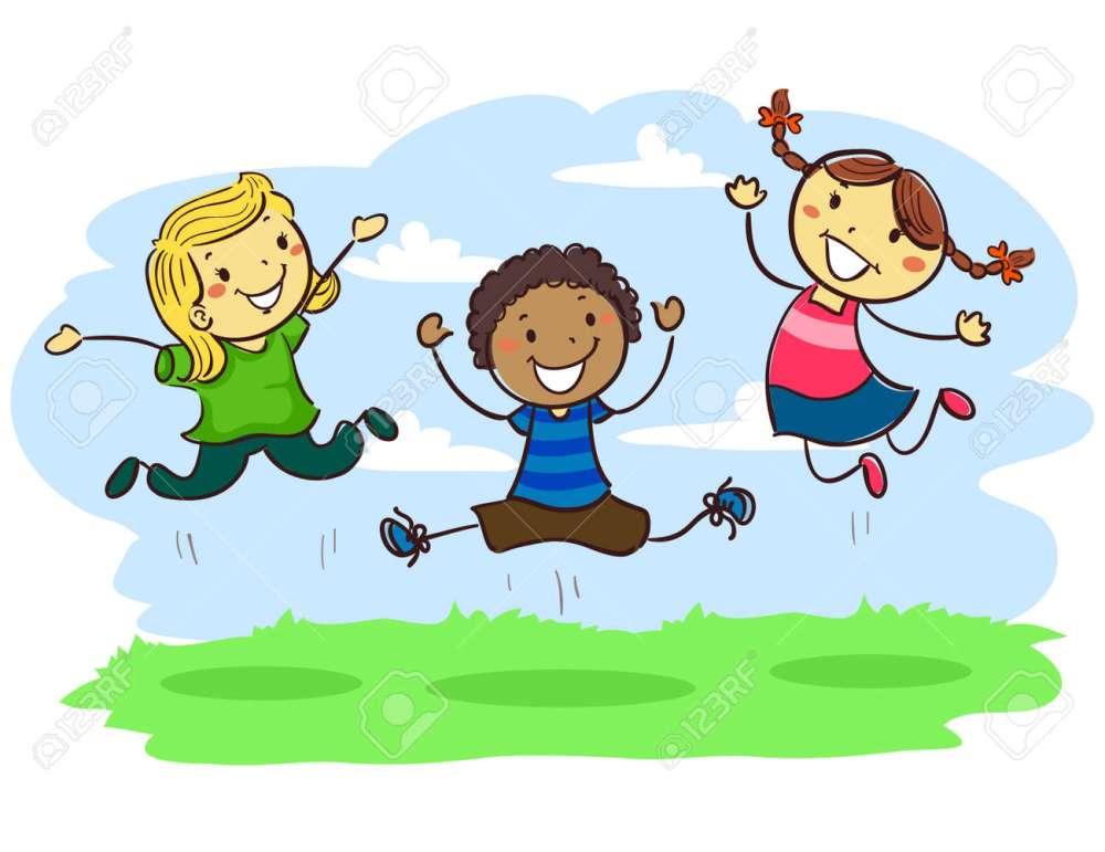 medium resolution of vector vector illustration of stick kids jumping together