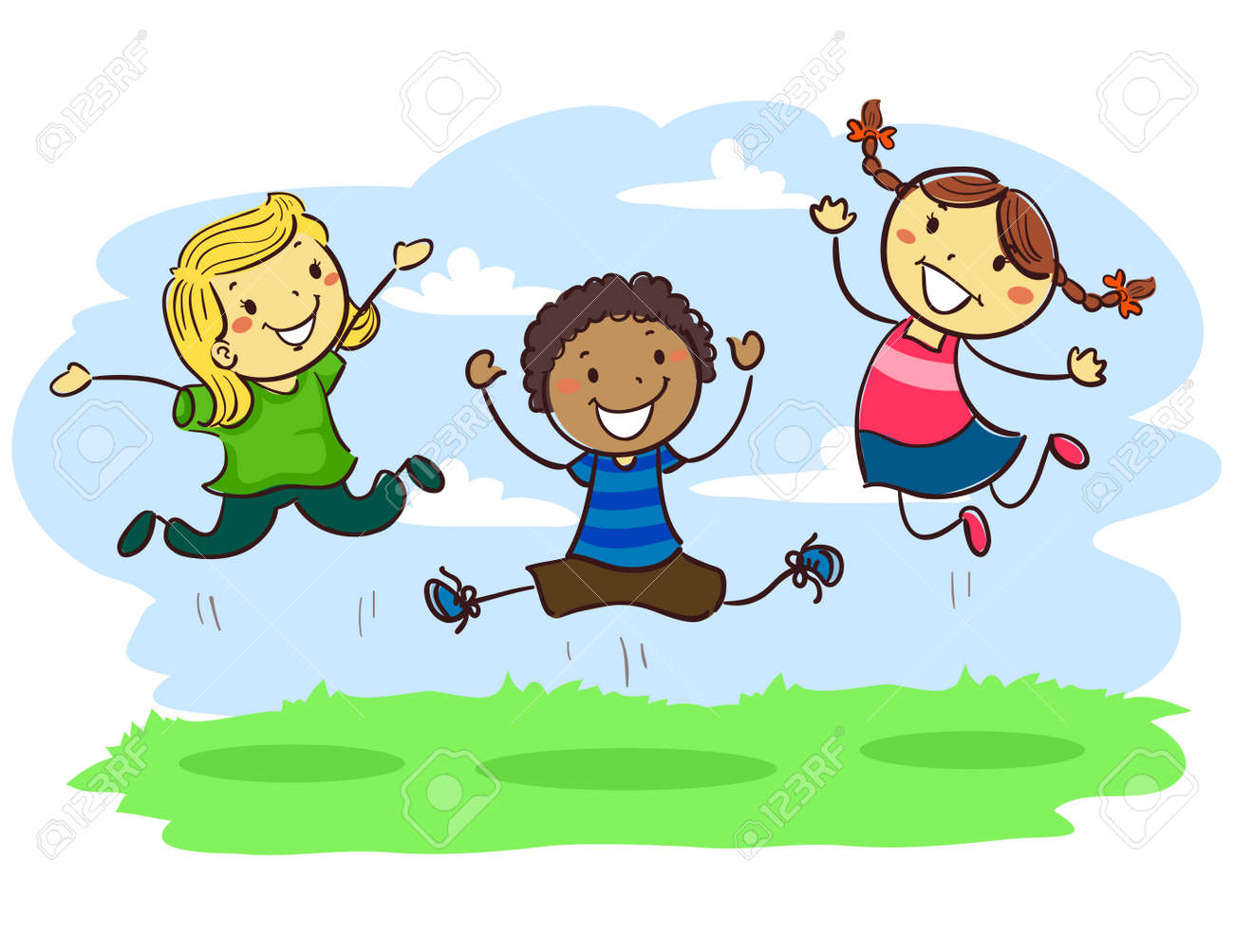 hight resolution of vector vector illustration of stick kids jumping together