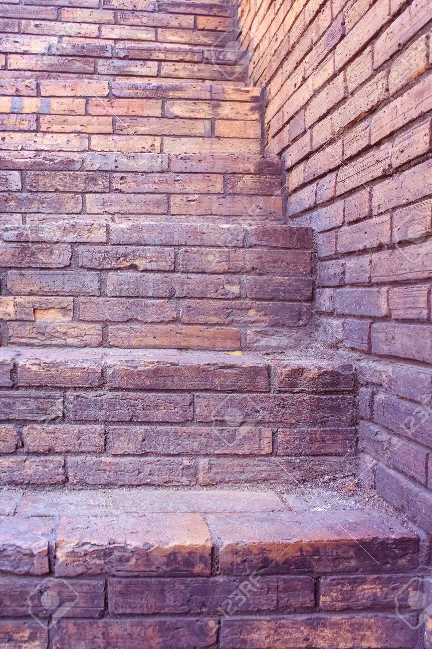 vintage brick staircase with