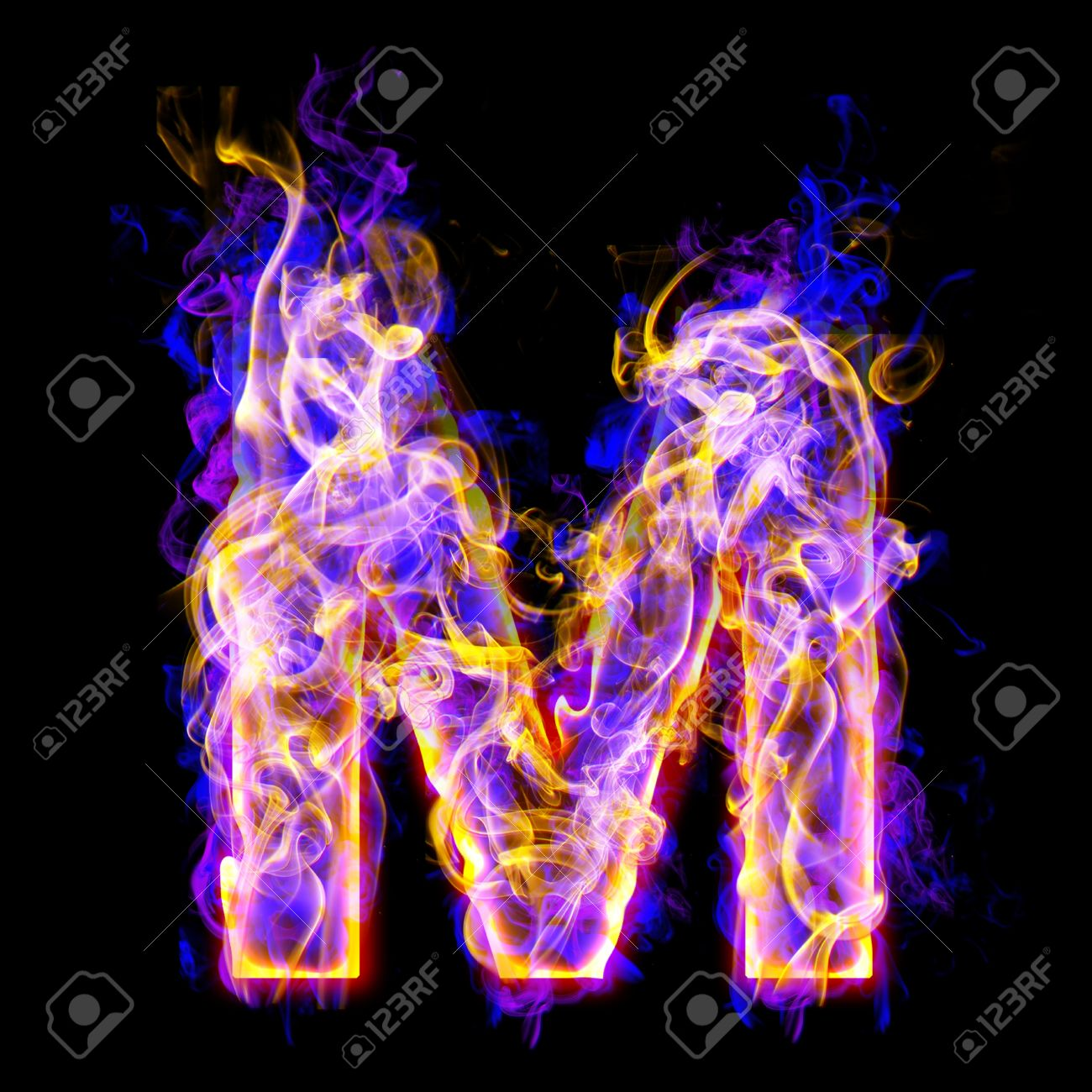 Letter M Burning With Blue And Pink Colors Stock Photo Picture And Royalty Free Image Image 9632383