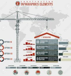 infographics elements construction business build tower crane on a world map background vector [ 1300 x 1300 Pixel ]