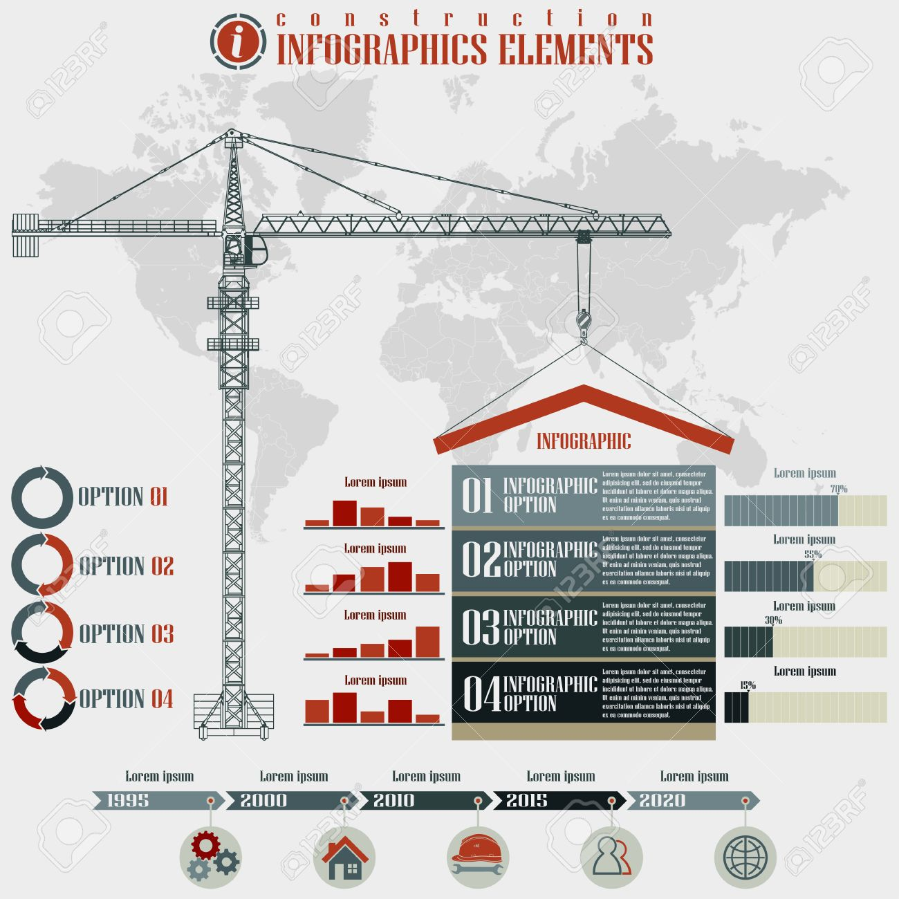 hight resolution of infographics elements construction business build tower crane on a world map background vector