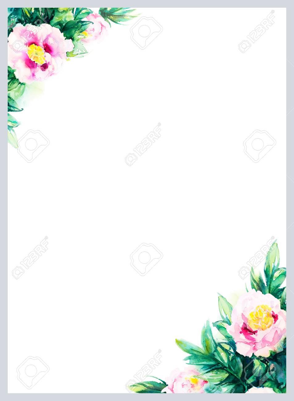 invitation mariage element decoratif hand drawn fond d aquarelle de pivoine